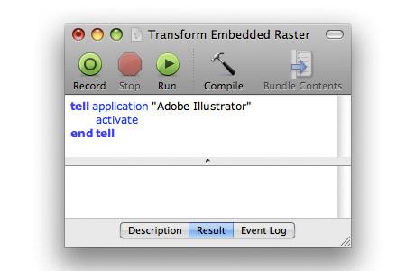 Illustrator Embedded Raster AppleScript